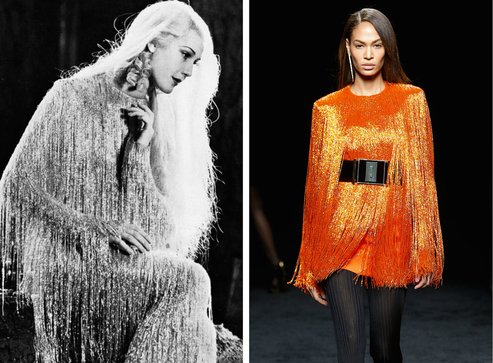 From left to right: Anita Louise in 1935 wearing a beaded fringed dress, and the Balmain collection at Paris Fashion Week, Fall 2015.