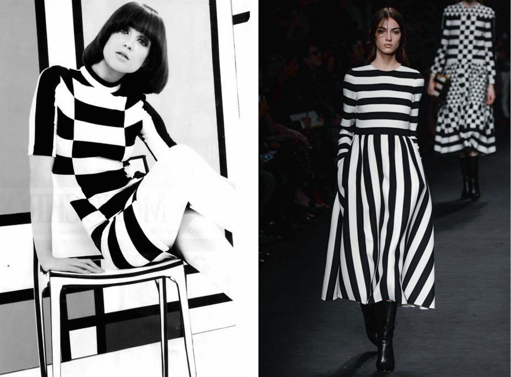 From left to right: Black and white dress featured in the 1960 Look Magazine edition, and the Valentino collection at Paris Fashion Week, Fall 2015.