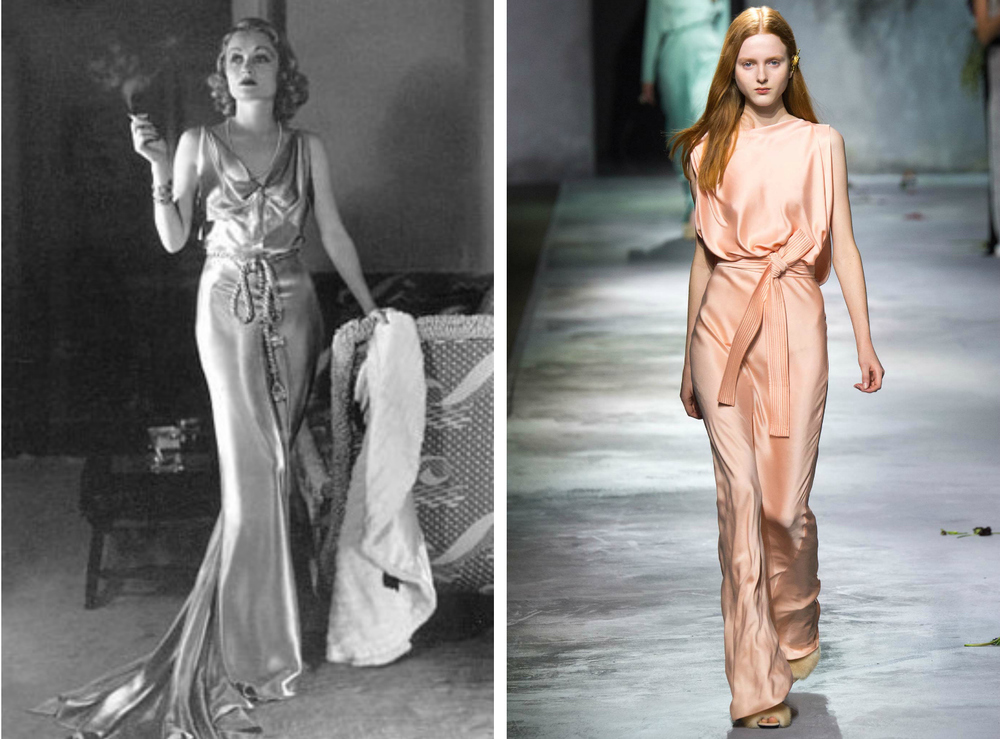 From left to right: Jean Patou in early 1930s wearing a boudoir inspired gown, and the Vionnet collection at Paris Fashion Week, Fall 2015.