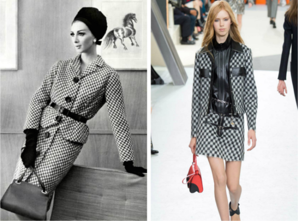 From left to right: Wilhelmina Cooper wearing a wool suit by Ferreras for L'Official, October 1962, and the Louis Vuitton collection at Fashion Week, Fall 2015.