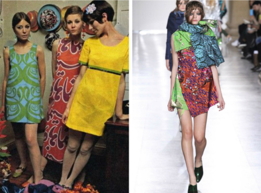From left to right: 1960s mod dresses in green, red, and yellow, and the Marques' Almeida collection at Fashion Week, Fall 2015.