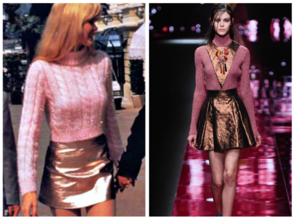From left to right: Claudia Schiffer in 1990 wearing a bronze metallic skirt, and the Just Cavalli collection at Milan Fashion Week, Fall 2015.