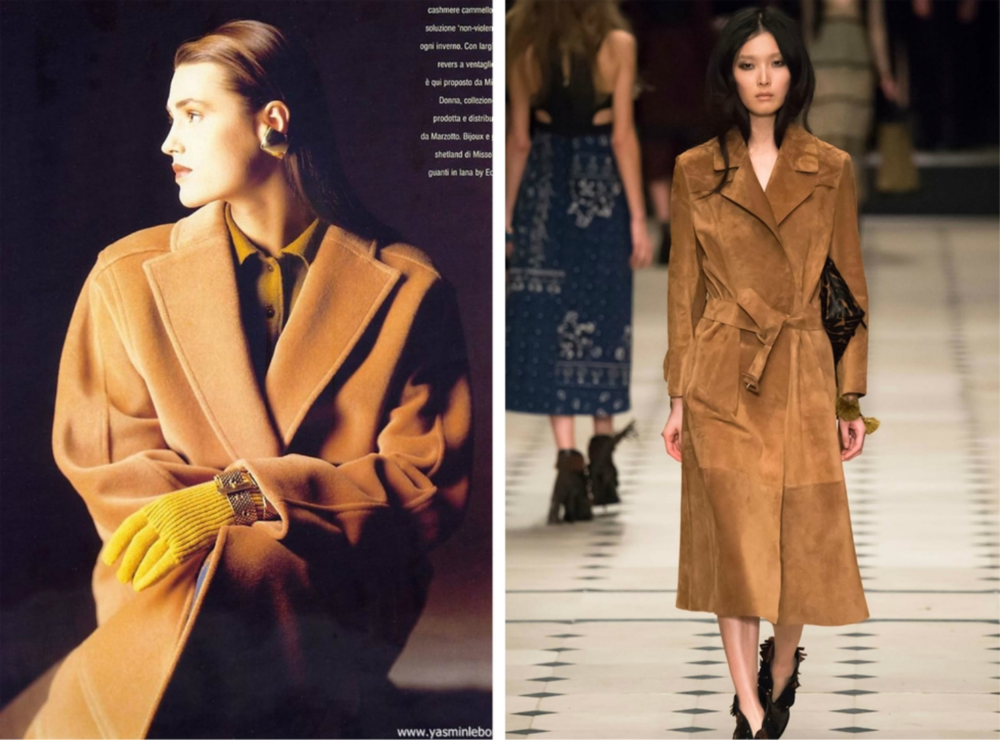 From left to right: Camel coat featured in the 1982 Donna Missoni collection, and Burberry Prorsum's   collection for London Fashion Week, Fall 2015.