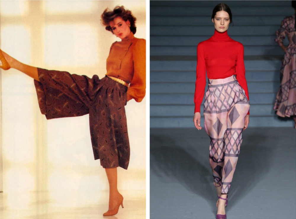 From left to right: Harem Pants by Stephen Anderson for the 1982 edition of Vogue Patterns Magazine, and Emilia Wickstead's   collection for London Fashion Week, Fall 2015.