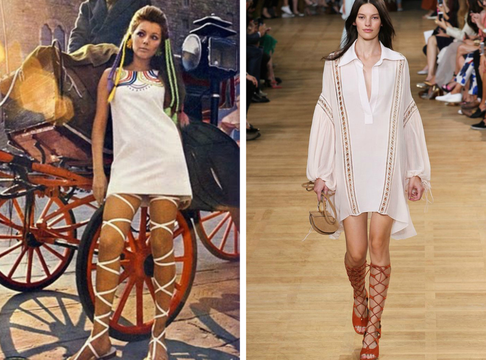 From left to right: Mini dress by John Bates, worn with thigh-high lace-up gladiator sandals, for British, 'Vogue' magazine 1967, and the Chloé Spring 2015 Ready-to-Wear Collection.