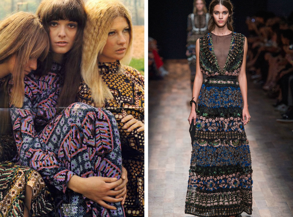From left to right: Models wearing dresses by Janice Wainwright for the September 1970 edition of Nova magazine, and the Valentino Spring 2015 collection at Fashion Week.