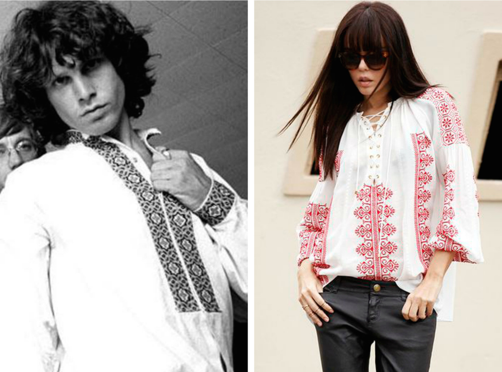 From left to right: Jim Morrison in 1968 wearing a peasant top, and an Altuzarra peasant top for womenswear.