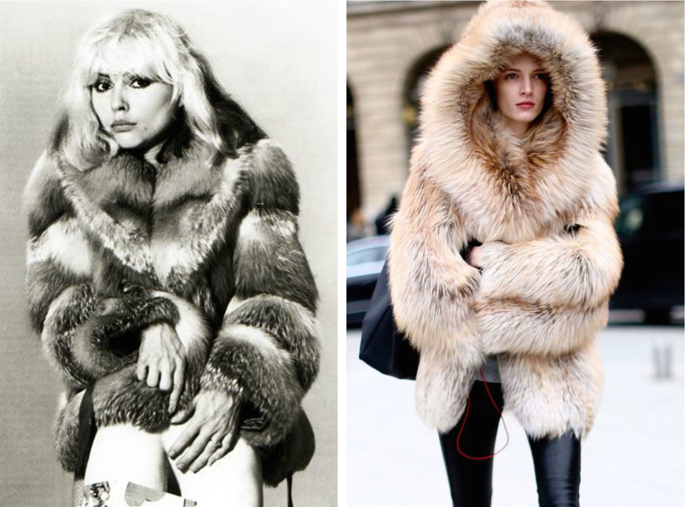 From left to right: Fashion icon, Debbie Harry (Blondie), in 1970 wearing a beautiful fur jacket, and fur jacket for Fall 2014 street style.