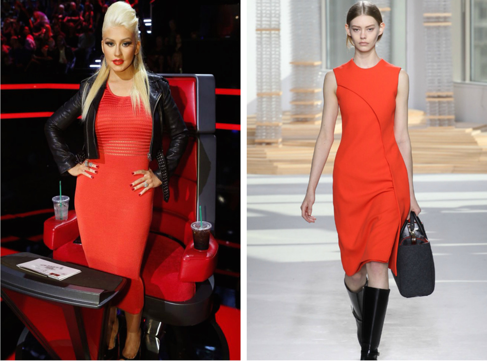 From left to right: Christina Aguilera wearing a red body con dress on The Voice, and The Boss Fall 2015 Collection.