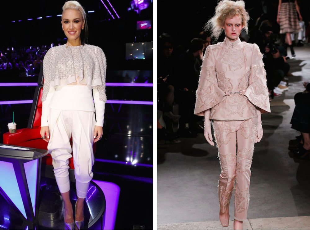 From left to right: Gwen Stefani wearing cream trouser pants and shoulder pads, and the Alexander McQueen Fall 2015 Collection.