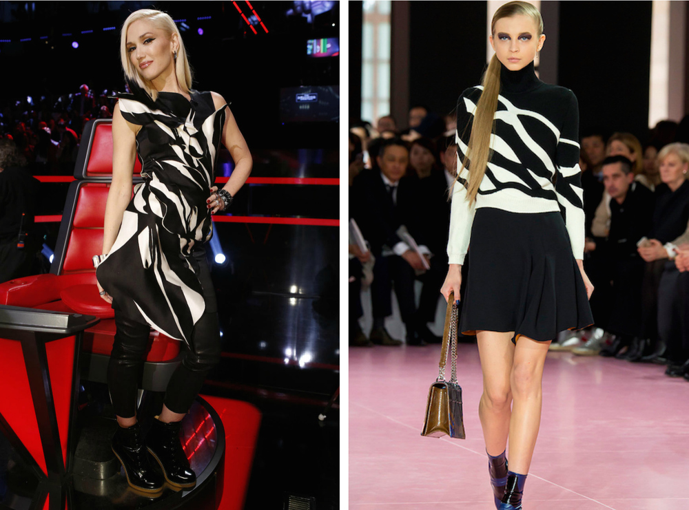 From left to right: Gwen Stefani wearing a black and white patterned tunic, and the Christian Dior Fall 2015 Collection.