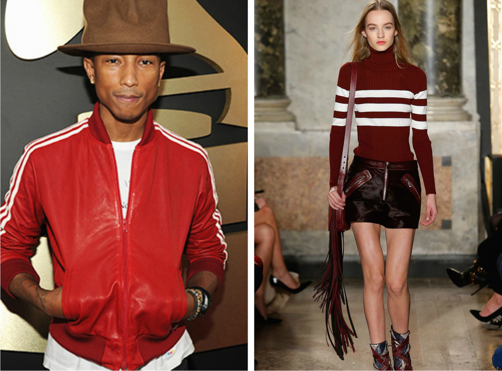 From left to right: Pharrell wearing a red Adidas Jacket, and the Emilo Pucci Fall 2015 Collection.