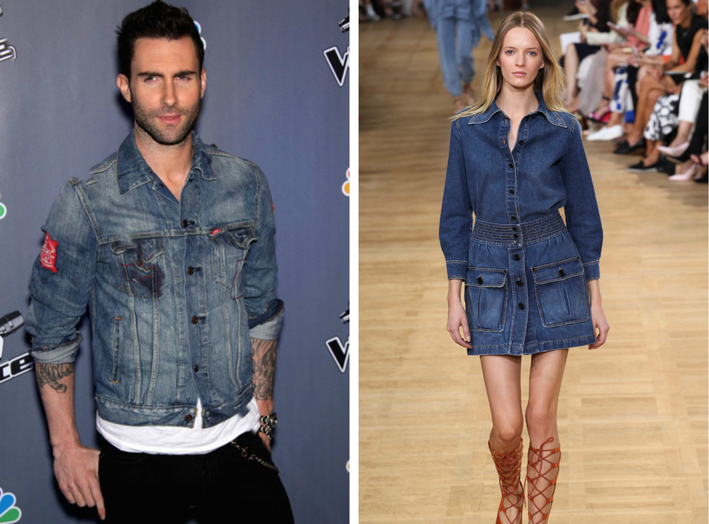 From left to right: Adam Levine wearing a denim jacket  , and the Chloé Spring 2015 Collection.