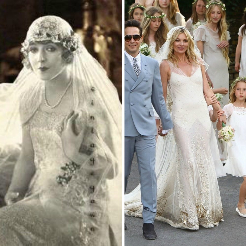 From left to right: 20's Bride, and Kate Moss wearing John Galliano.