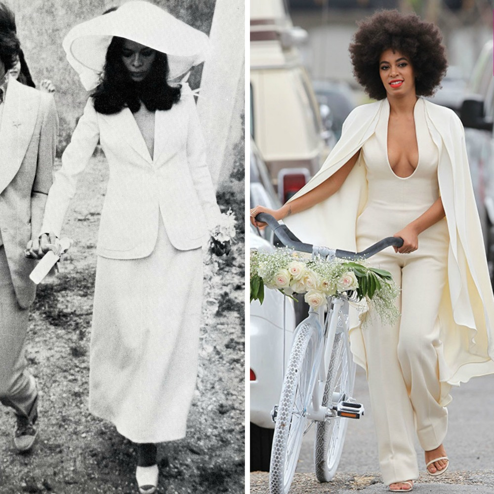 From left to right: Bianca Jagger wearing a YSL Le Smoking Jacket in the 70's, and Solange Knowles leaving her wedding ceremony in a  Stéphane Rolland ensemble that's also inspired by men's tailoring.