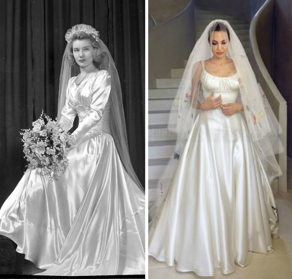 From left to right: 40's Wedding dress with same fabric, fit and bust detail to Angelina Jolie's Versace gown.