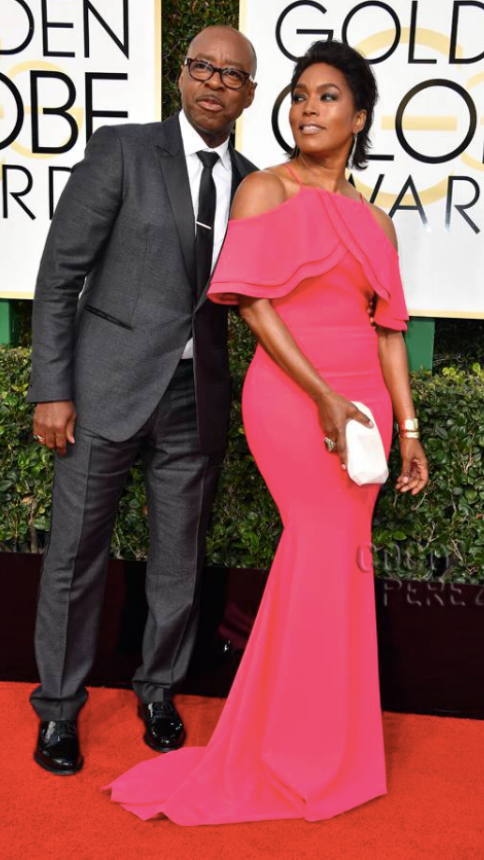 Angela Bassett:   Christian Siriano  gown,  Erica Courtney  jewels  Courtney B. Vance:   John Varvatos  tuxedo