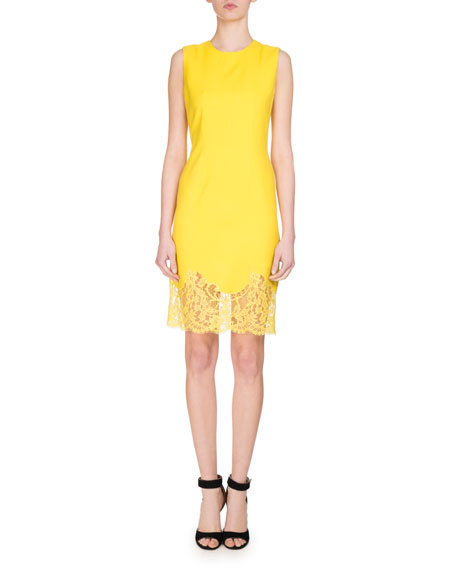 Ditch the overrated LBD and highlight your closet with a golden sheath dress instead.  - Givenchy Sleeveless Lace-Hem Sheath Dress       neimanmarcus.com                                                $1,945.00