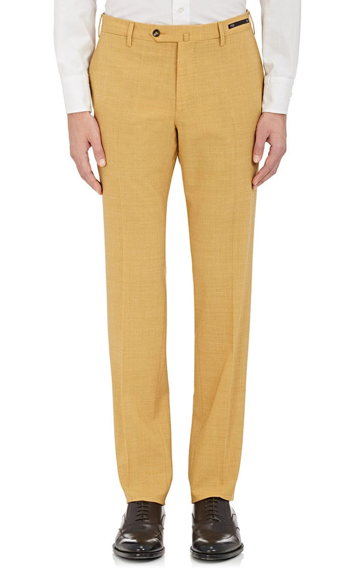 Shake things up by replacing a pair of chinos with this light and bright pair of textured trousers. - PT01 San Blas Wool-Blend Trousersbarneys.com                                                          $189