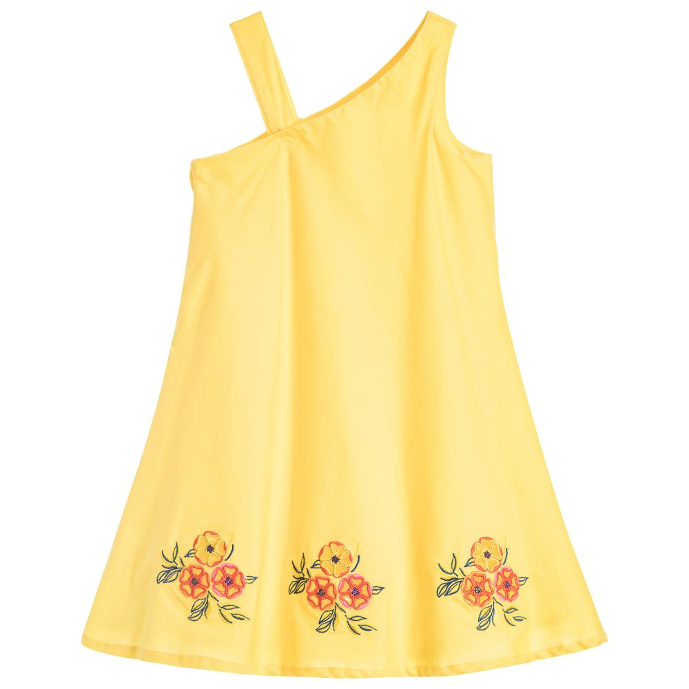 Your little one can romp around in this adorable dress at the beach, playground or even on the first day of school. - MSGM Girls Yellow Embroidered Dress                 childrensalon.com                                                 $113