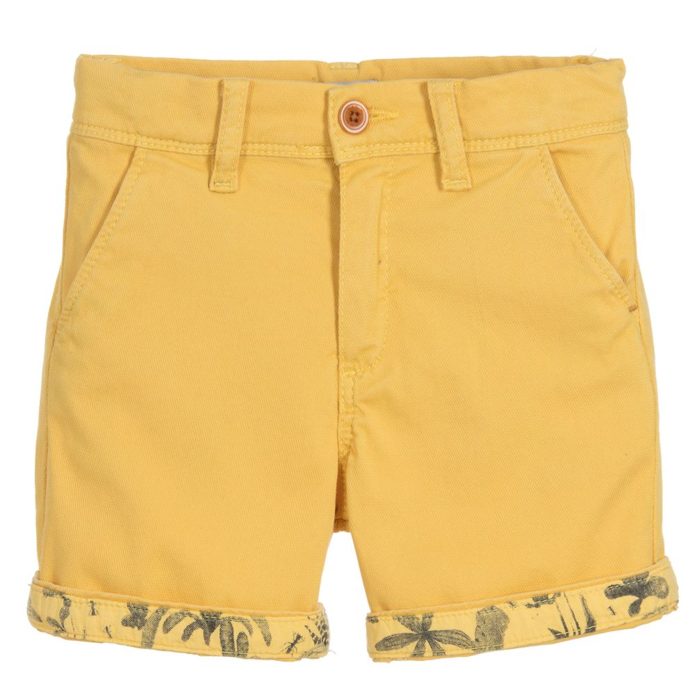 Good thing it's summer break since your little one would be too cool for school in these super stylish cuffed shorts.  - Paul Smith Junior Boys Yellow Cotton Shortschildrensalon.com                                                   $61