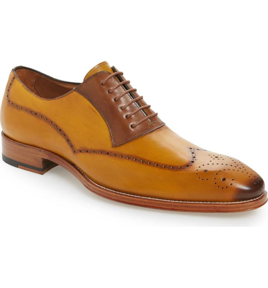 Swap out your everyday loafers with mustard wingtip oxfords for a bold look. - Kevin Faux Wingtip in Mustard           Nordstrom.com                                                   $425