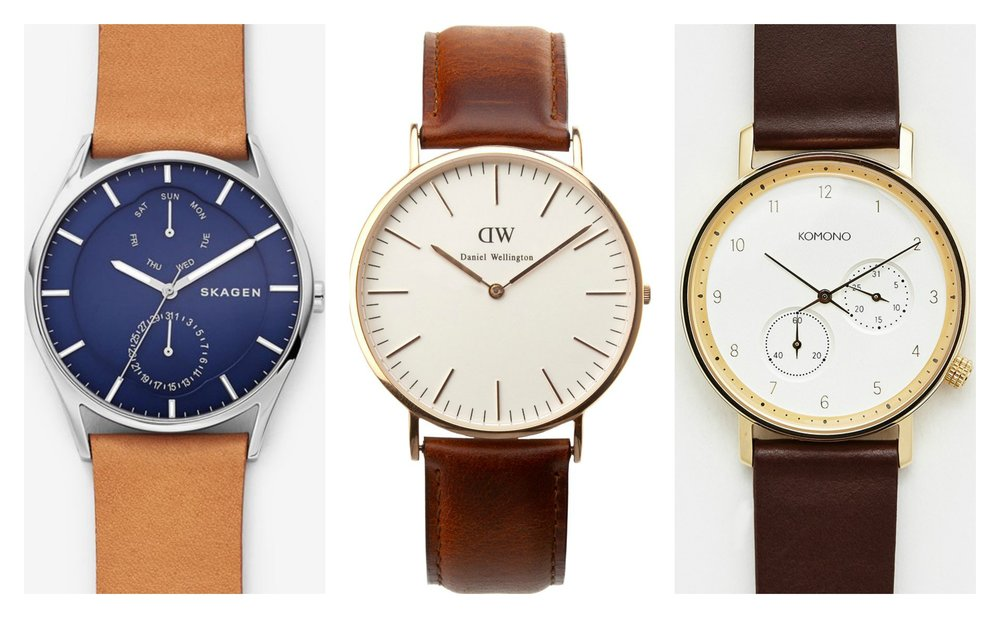 From left to right:  Skagen ,  Daniel Wellington , and  Komono