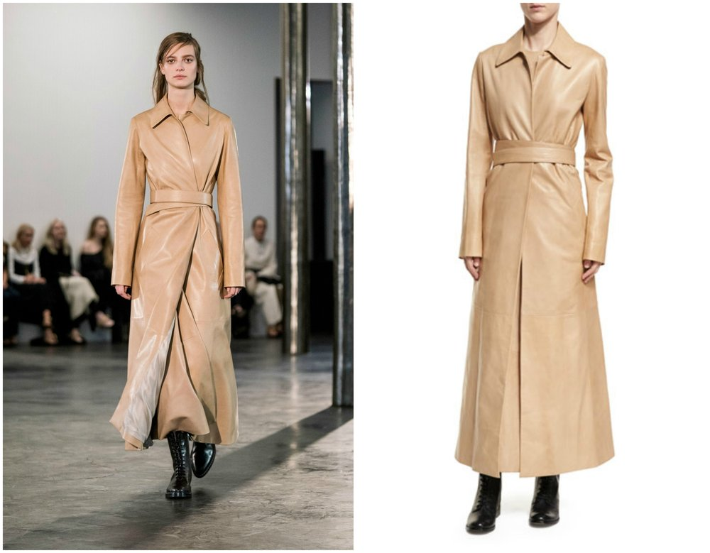 The Olsen twins showcased their simple yet elegant ensembles during The Row's runway show in February. This  Neyton Long Leather Trenchcoat  in Sand appears to have not gone under any production changes and can be purchased in the same cut and color.