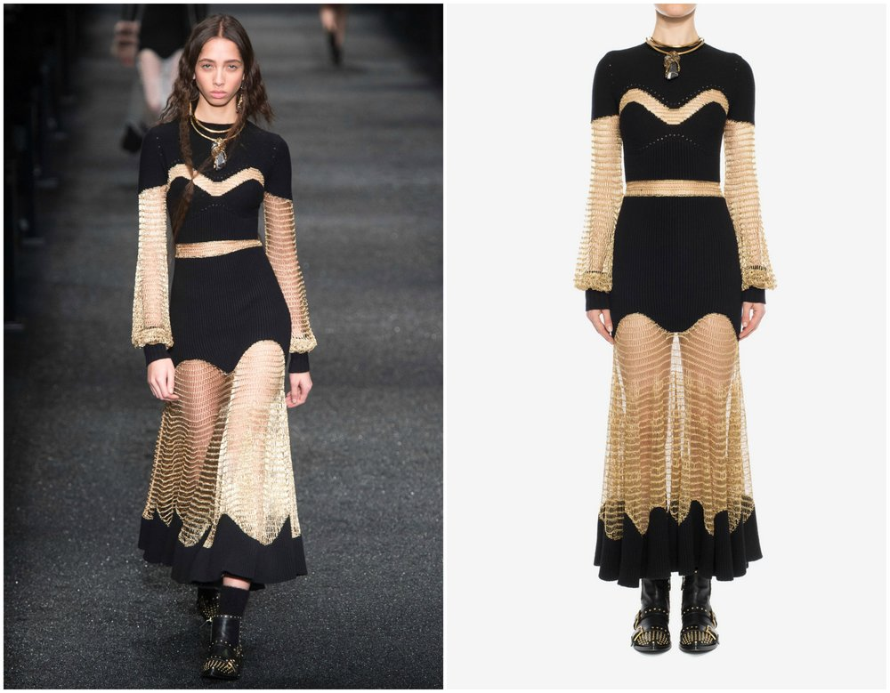 Black and gold together always has a certain richness. In contrast with many sheer pieces, this  rockstar dress  from Alexander McQueen dodged any production alterations.