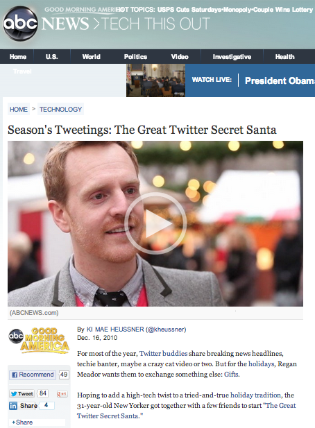 Feature on ABC News http://abcnews.go.com/Technology/seasons-tweetings-great-twitter-secret-santa/story?id=12406068