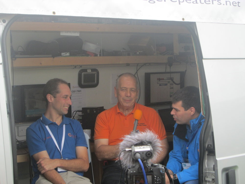 Martin (M1MRB) enjoying interviewing Lawrence (M0LCM) and Rob (M0VFC) from CambsHams about how to build Flossie - A mobile Amateur/Ham Radio Station