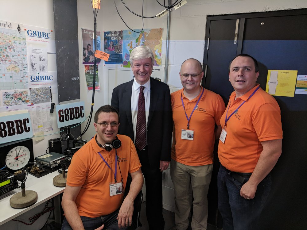 BBC Director General Lord Tony Hall with ICQPodcast's Martin M0SGL, Chris M0TCH and Colin M6BOY