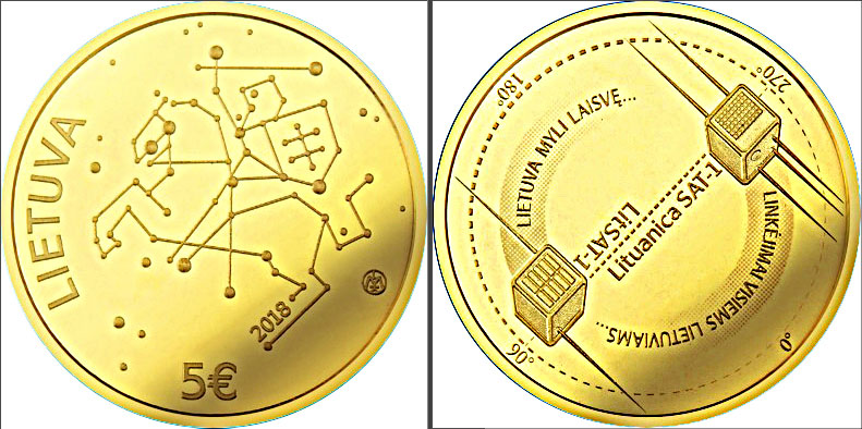 Bank of Lithuania Gold Coin Features Amateur Radio Satellites.jpg