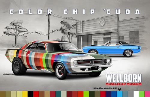 Color Chip Cuda Poster Eb5 Blue Fire Metallic Wellborn Musclecar