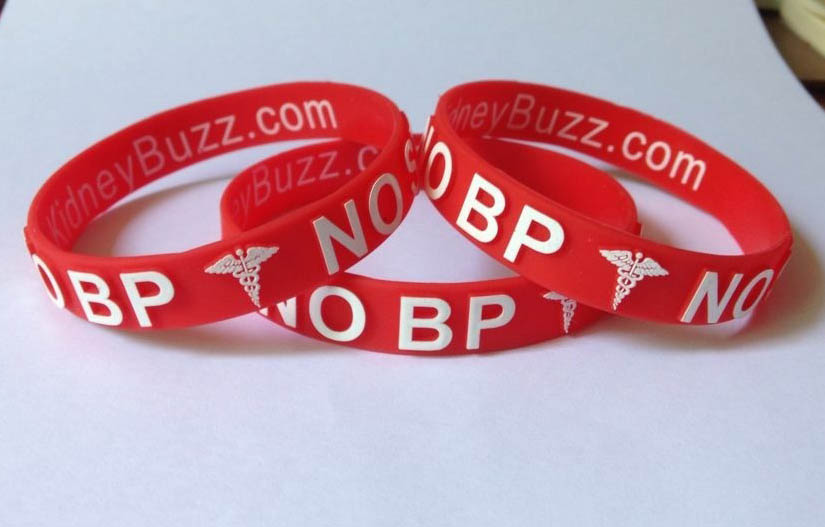 "Protect your fistula while you support KidneyBuzz.com's mission to empower the Kidney Community by purchasing the inexpensive ""No BP/Np Stick"" Medical Alert Bracelet."