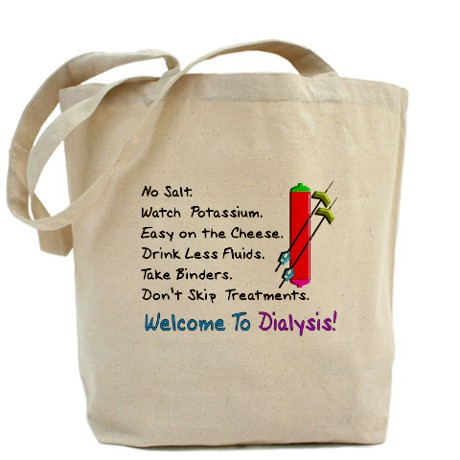 Just enough space to fit all of your dialysis accessories and offer some individuality. Medium sized tote bag.  Click Here.