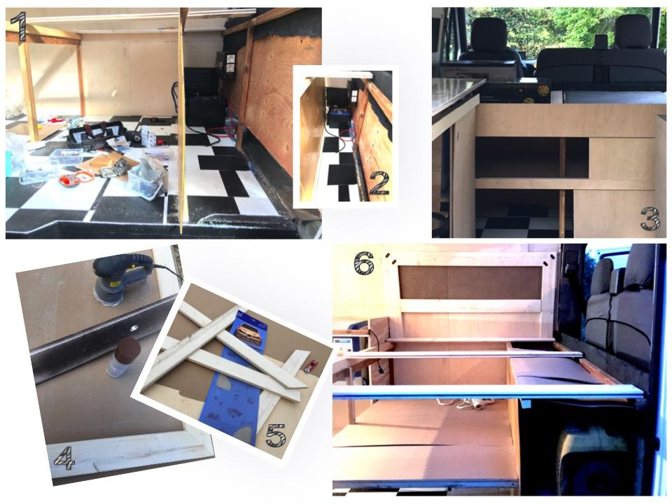 """1. &2. Sängyn runko. Patjan alle rakennettiin lautasäleikkö(kuvissa näkyy kylläkin vain tukirimat). Niiden alla on hyllyin jaettua säilytystilaa. Säilytystilasta eristettiin oma osa """"tekniikalle"""", eli akuille, agrikaatille, invertterille sekä auton huoltoon liittyville työkaluille, varapolttoaineille yms.  3. Sängyn runko huoneen puolelta. Liukuovet ja peitelistat ovat koivuvaneria.  4. & 5. Sängyn päädyksi kehystettiin urheiluautojen tuning-maski. Se maalattiin valurautaa muistuttavin sävyin ja koristeltiin työkalupakista löytynein kulmaraudoin.  6. Patjan pohjasäleikkö on jaettu kahteen osaan, jotka saa nostettua ylös. Näin tavaraa saa pengottua niin sängyn yltä kuin sivuilta. Ulko-oven kautta pääsee käsiksi """"tekniseen varastoon"""" ja kuskin penkin takaa painelemaan tarvittaessa sähkölaitteiden nappuloita ja yhdistelemään johtoja."""