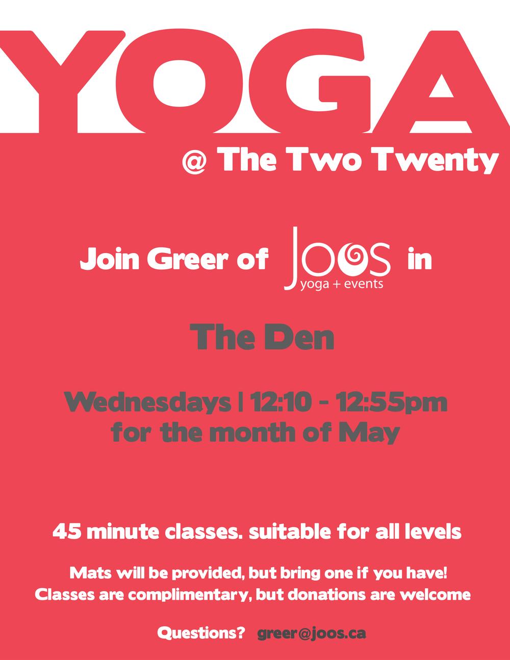 Complimentary yoga courtesy of Greer and Joos Yoga.