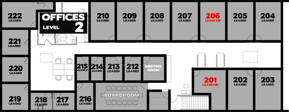 Suite 201- $1,131.78 + GST/month on a one-year lease. 218 square feet Suite 206- $1,115.78 + GST/month on a one-year lease. 214 square feet (Available Nov 1/17)