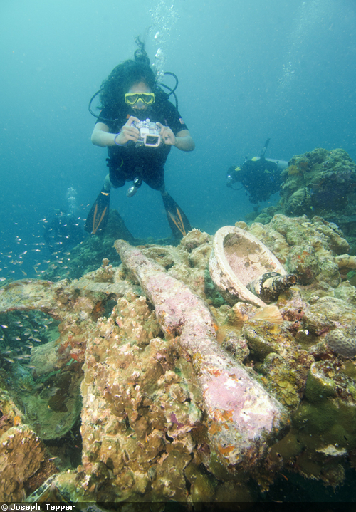 Coral-encrusted guns are littered about the wrecks--along with gas masks, saki bottles, and ammunition.