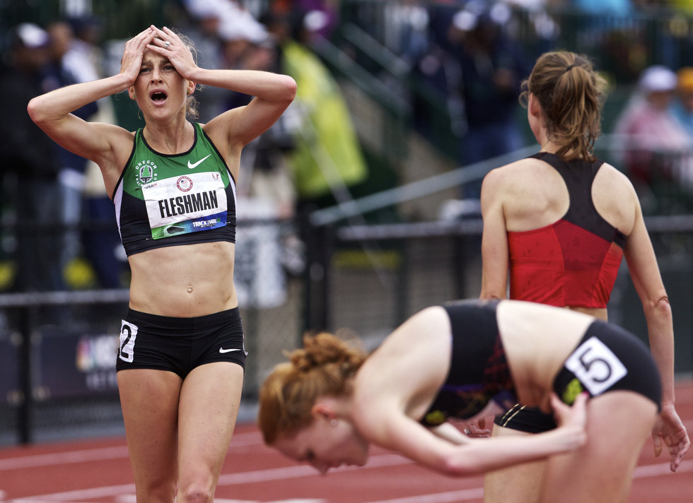 Lauren Fleshman qualifying for the 5000m at the Trials after injury.