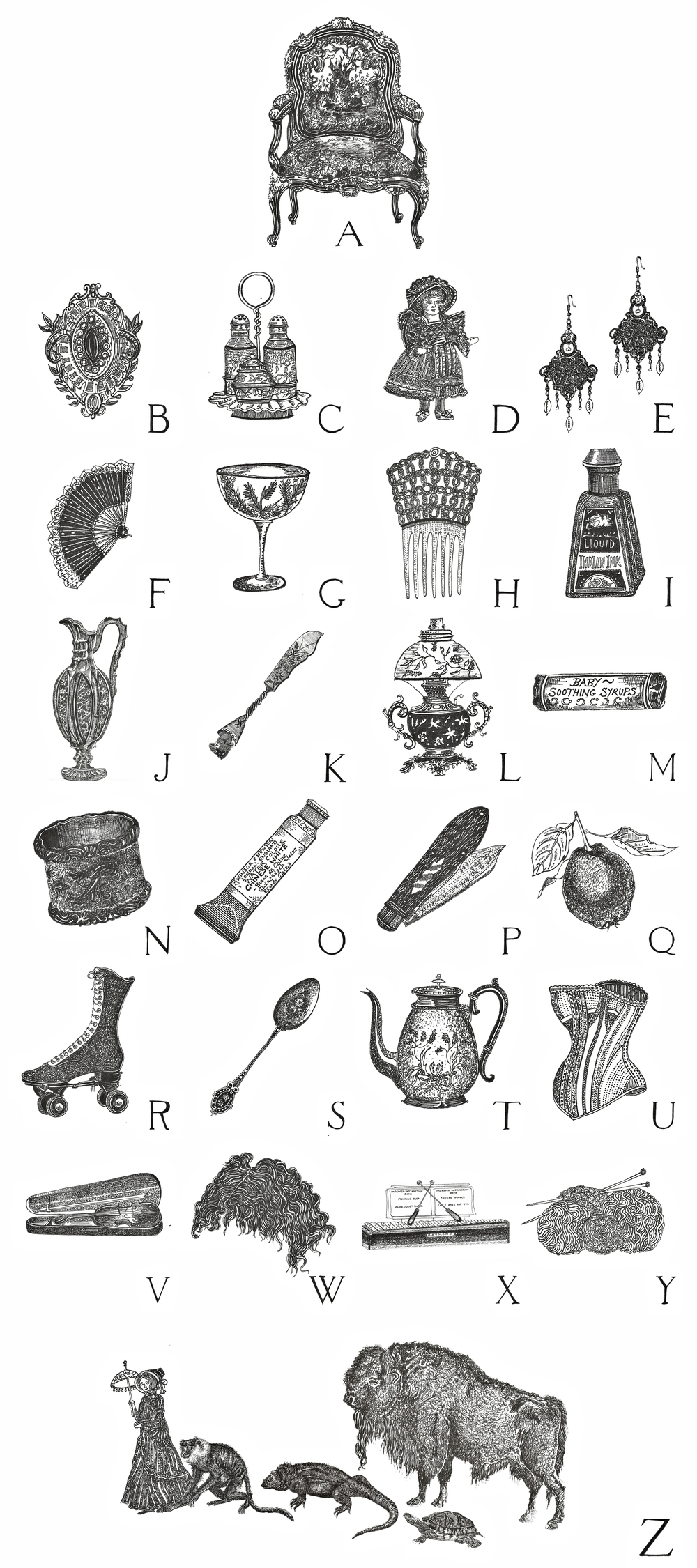 A-Z of Victoriana    Association of Illustrators, Images 37 Competition Entry    February 2013   Series of 26 detailed pen and ink illustrations of Victorian goods and merchandise, collected together to form a visual A-Z guide of the era.