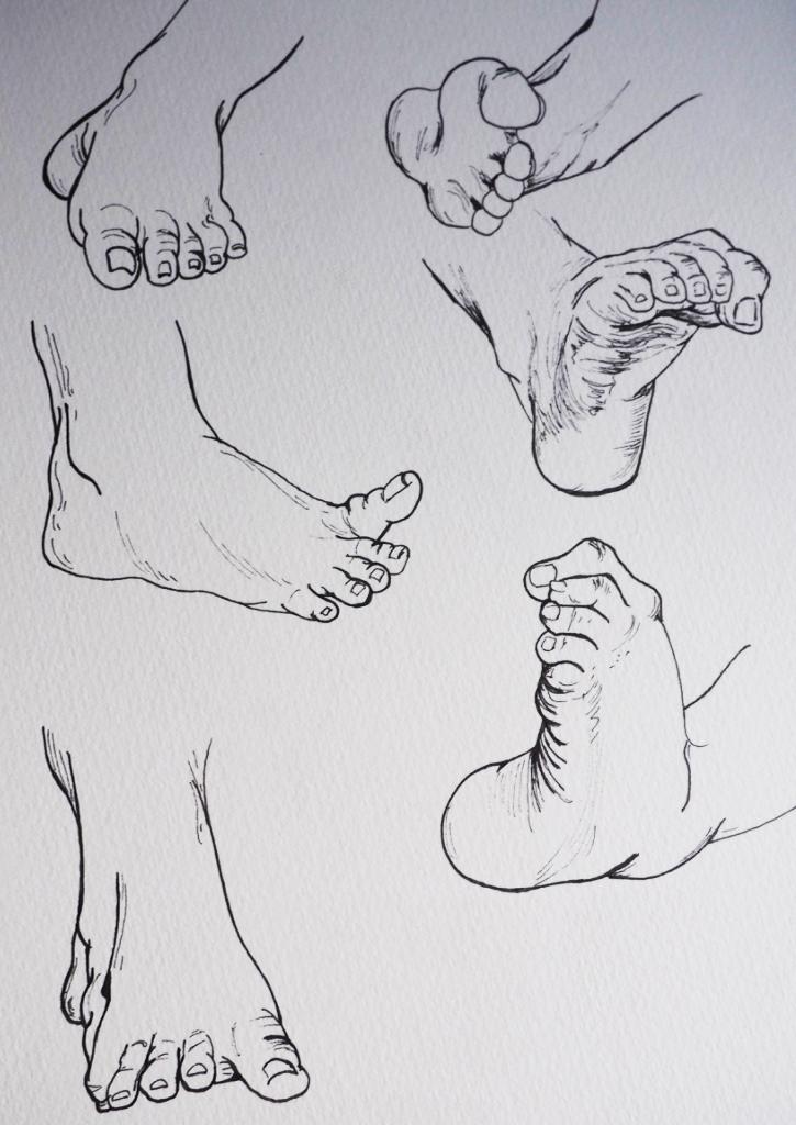 Feet, pen & ink