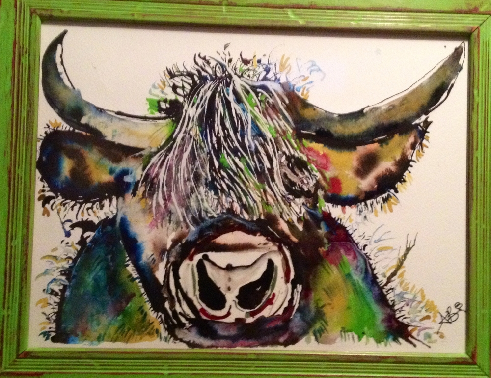 'Mr. Highland Cow' (2013) Ink and Watercolours on Paper. © 2013 Ashleigh Bickerstaff Art