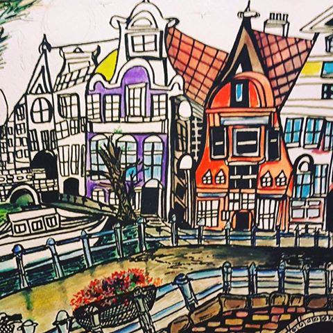 #quirkycityscapes #Amsterdam       ©2016 Ashleigh Bickerstaff Art.