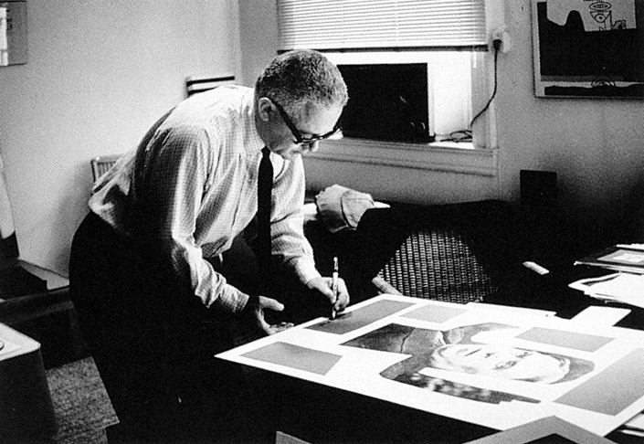 Mr. Rand working in his studio. © Paul Rand Inc.