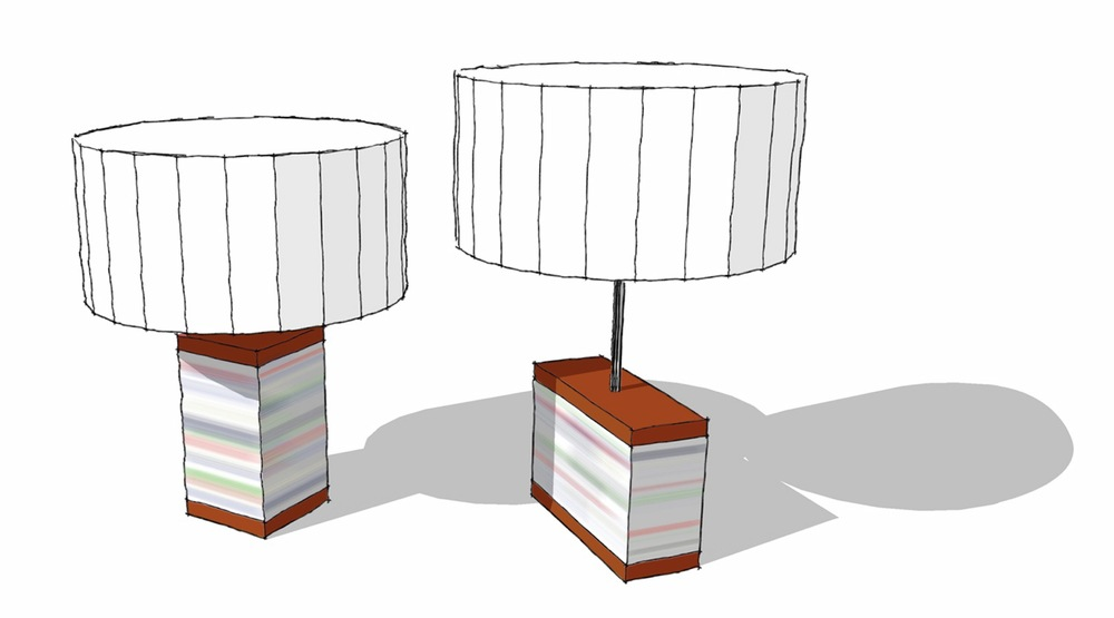 initial sketches of stack lamp