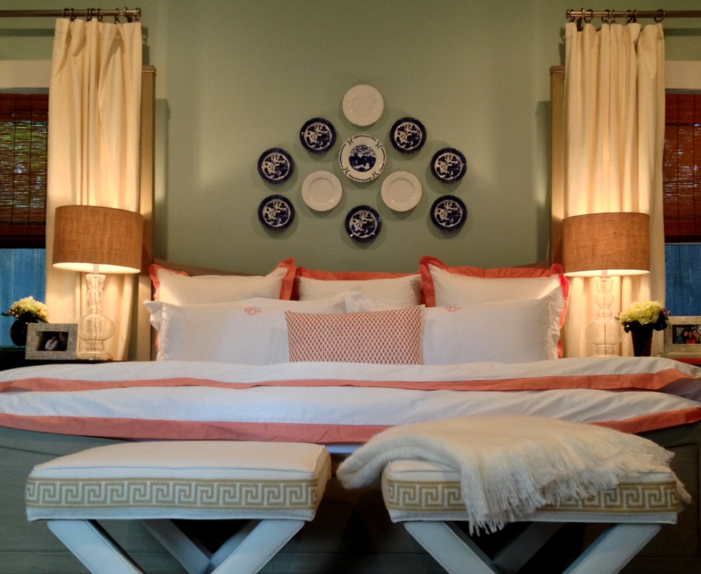 Cerulean Master Bedroom with Coral bedding and Blue & White Accents