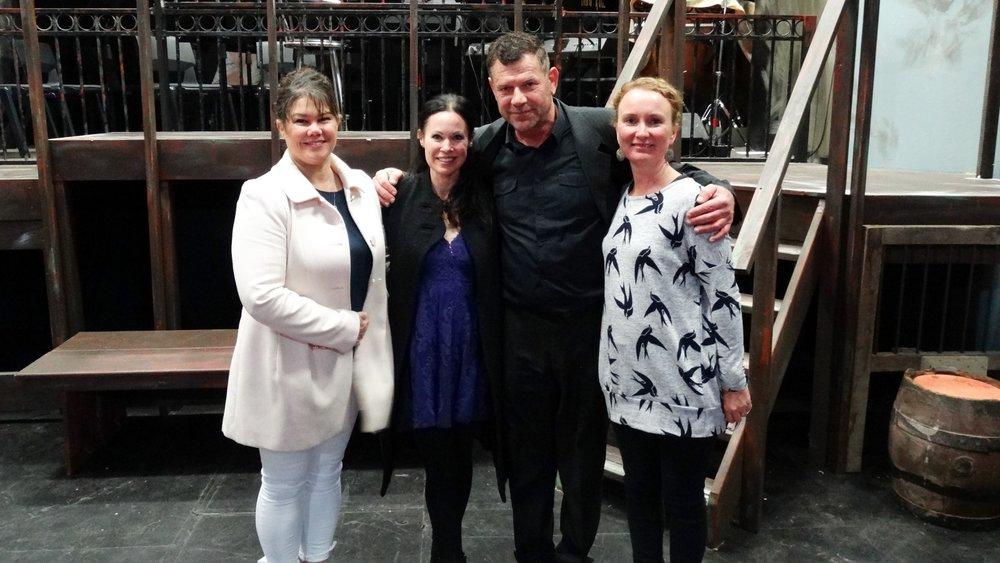 Left to Right: Deana Constable (Vocal Coach), Ana Marina, JJ Geelen (Director) and Sarah Bicknell (Asst. Director)