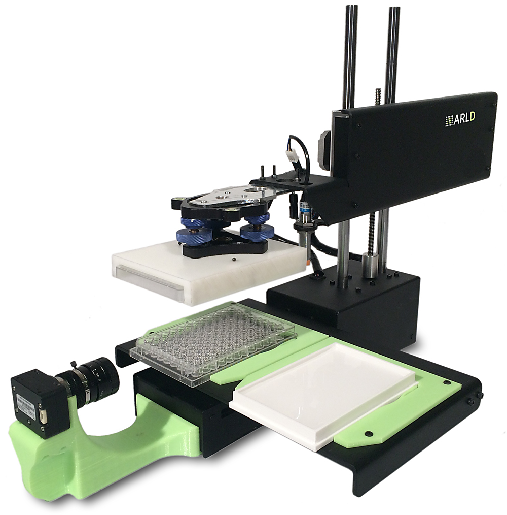 ARLD's low-cost dispensing robot can load an AIM Lid with cell-containing gel droplets in seconds, or this can be done with conventional high-throughput plate handling equipment.